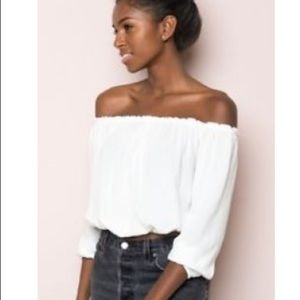 Brandy Melville white Maura off the shoulder top